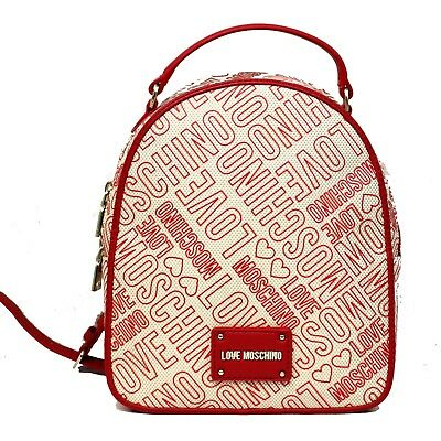 8072cdb6ea2 Woman backpack LOVE MOSCHINO red textile rucksack with logo New  JC4039PP15LD150A