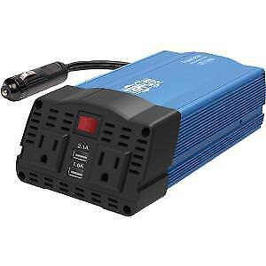 Tripp Lite 375W Compact Portable Car Power Inverter 2 Outlet 12V DC to 120V AC w