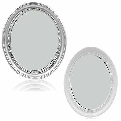 Classic Oval Wall Mounted Hanging Bevelled Mirror Shabby Vinta Chic Silver White
