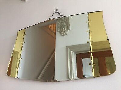Vintage Frameless Mirror RARE YELLOW TINTED Bevelled Edge Original Chain 61x38cm