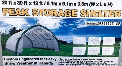 FABRIC BUILDING STORAGE SHELTER 20' x 30' x 12' by PEAK - NEW