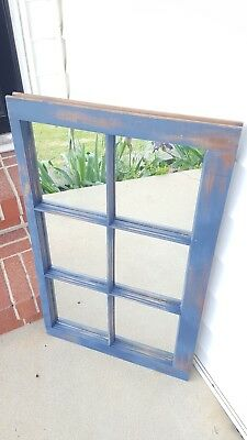 Vintage Sash Antique Wood Window Rustic Frame 6 Pane Blue Distressed W/ Mirrors