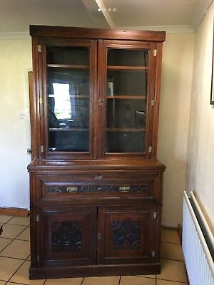 Antique Victorian Mahogany Glazed Bookcase Library Shelving Cabinet Cupboard