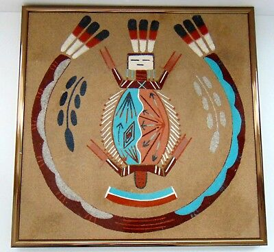 "Original Navajo Indian Sand Painting Vintage 12.5"" x 12.5"" x 1"""