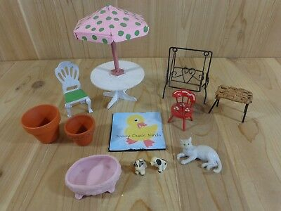 DOLLHOUSE FAIRY GARDEN Furniture Lot Table Chairs Pots Swing Dog Cat Vintage