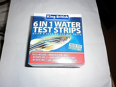 King British 6 In 1 Water Test Strips Aquarium Pond Nitrate Ph No3 Ammonia Gh Kh