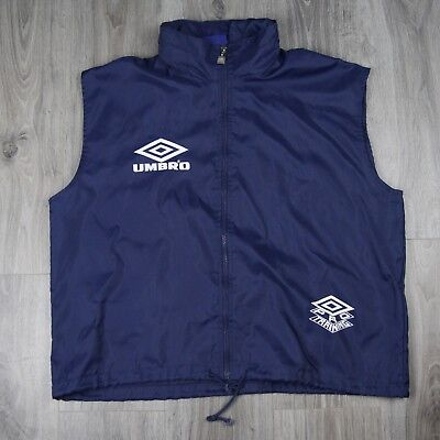 Mens Vintage Umbro Pro Training Hooded Vest Jacket Spell Out Logo