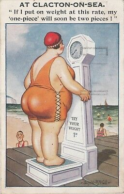 "Inter-Art Seaside Postcard ""Comique Series #7019, Fat Lady Clacton,Posted 1933."