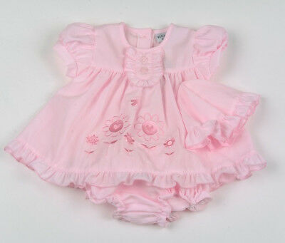Baby Girl Clothes Dress Hat Pant set Spanish style Pink floral Newborn-6 months