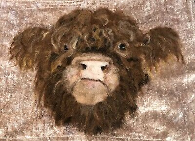 Highland Cow Portrait - OOAK, Needle-felted Wool painting