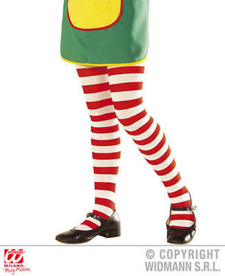 Girls Kids Childs Tights Striped Red/White Fancy Dress Costume Outfit 7-10 Yrs