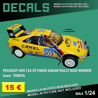DECALS repro Peugeot 405 T16 GT Paris Dakar Rally Camel 1/24 1 24 Tamiya decal