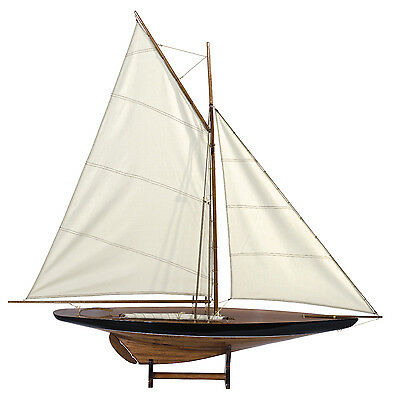"Blue & Green 1901 Sail Pond Yacht Model 43"" Cup Contender Sailboat New"