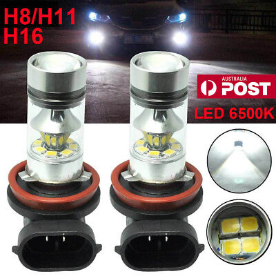2x H8 H11 H16 6000K White 100W High Power CREE Fog Light LED Driving Bulb DRL AU