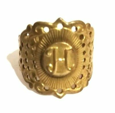 Vintage Handmade Ring from Yugoslavia Coin Monogram From 1Dinar 1938 Size 7 3/4