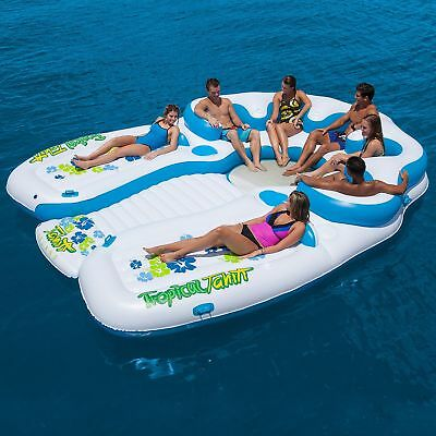 NEW Giant 7 Person Inflatable Raft Pool Bestway Tiki Ocean Floating Island Huge