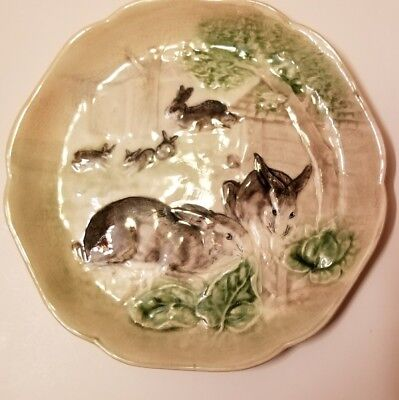 VERY RARE Antique French Majolica Bunny Rabbit Plate c.1900 Stamped France # 2