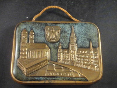 Vintage Brass Germany Munchen Munich Wall Plaque Oktoberfest Beer Marienplatz Sq