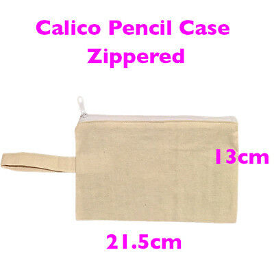 Calico Bags Calico Zippered Pencil Case Makeup Case Plain Natural