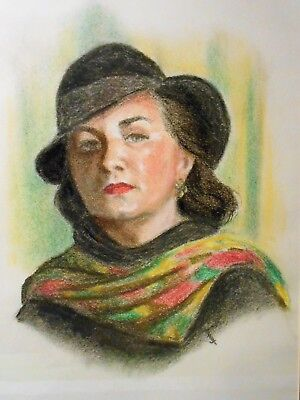 HAZEL KUPSCH Portrait of Woman 60's Pastel Original Art Oak Ridge, Tennessee TN