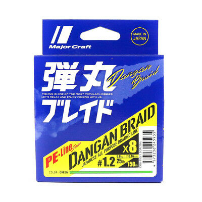 Major Craft Dangan Braided Line X8 150m P.E 1.2 Green DB8-150/1.2GR/25lb (5935)