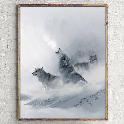 Snow Mountain Wolf Poster Nordic Style Landscape Canvas Prints Home Decoration