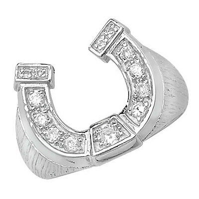 Horseshoe Ring Men's Gents Solid Sterling Silver Hallmarked size R - W