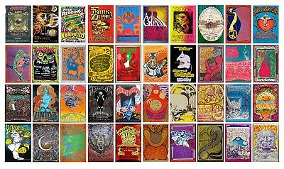 Vintage CONCERT 60s 70s A3 A4 POSTERS OPTIONS Psychedelic TRIPPY BUY 1 GET 2FREE