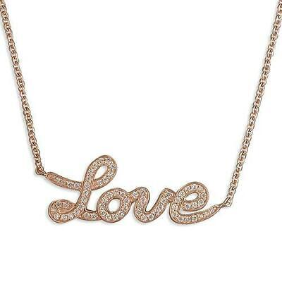 Ladies Sterling Silver Rose Gold Plated CZ Love Necklace R9294/R