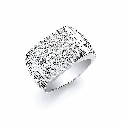Men's Square Top Ring Solid Sterling Silver Hallmarked Gents Signet