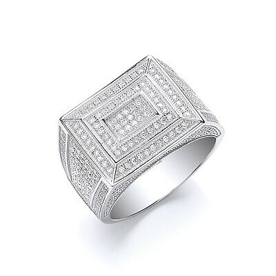 Men's Ring Solid Sterling Silver Hallmarked Gents Micro Pave Engagement