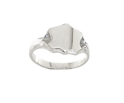 Men's Shield Signet Ring Solid Sterling Silver Gents Engagement Hallmarked