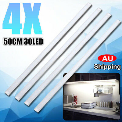 4x 50CM Kitchen Under Cabinet Counter Lighting LED Showcase Strip Light Fixture