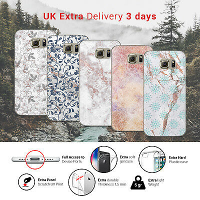 Marble Rose Floral Flower Ornament Design Pattern Phone Case Cover for Samsung