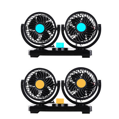 Car Vehicle Dual Cooling Fan 12V/24V 360° Rotating Mini Air Conditioner 2 Gears