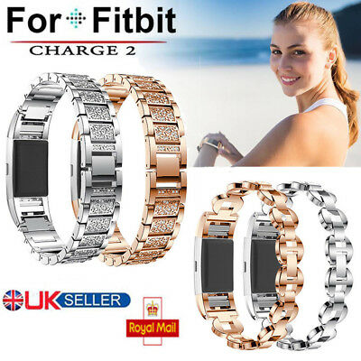 UK Crystal Stainless Steel Watch Band Wrist Strap For Fitbit charge 2
