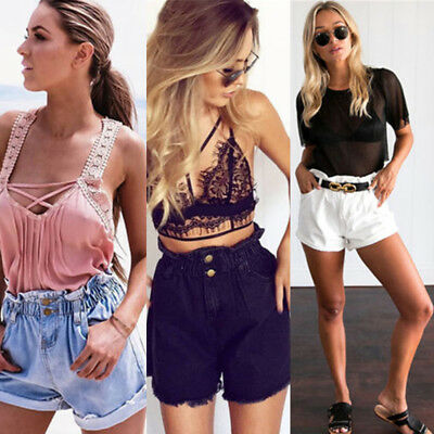 AU Fashion Womens Summer High Waisted Denim Shorts Jeans Hot Pants S-XL