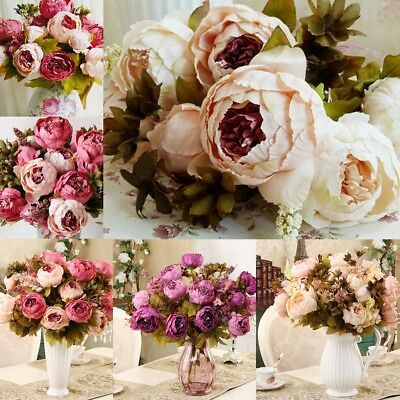 10 Head Bouquet Artificial Peony Silk Flowers Fake Leaf Wedding Party Decor Home