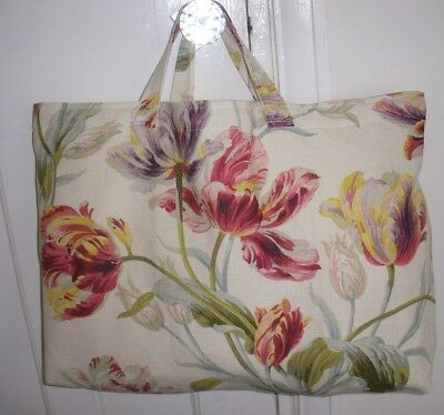 Knitting Bag Laura  Ashley Gosford Cranberry Fabric Lined Sewing Storage Homemad