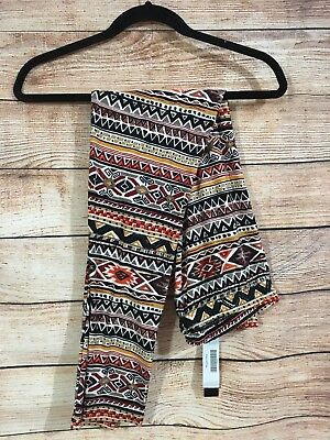 Tall and Curvy Super Soft Leggings Orange Black White Aztec Mayan Plus P220N