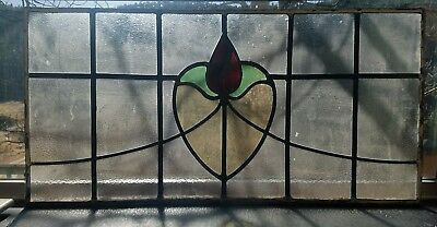 Antique Leaded Stained Glass Window Old Farm House 26 Panes English Textured
