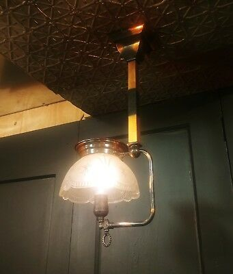 Vintage Mission Style Japanned Copper Hanging Gas Lamp - Converted to Electric !