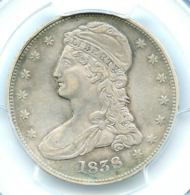 1838 Large Stars, GR-15 Capped Bust Half Dollar, PCGS XF Details