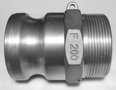 "F-200 200-F 2"" Camlock Male Adapter x Male NPT Thread Cam Lock Aluminum NEW 8A6"