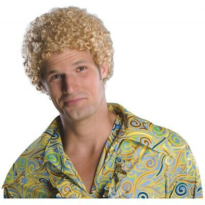 Tight Fro Costume Wig Adult Mens Blonde Will Ferrel Afro 1970's Disco Halloween