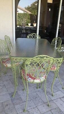 Vintage 7 piece Woodard wrought iron patio dining furniture