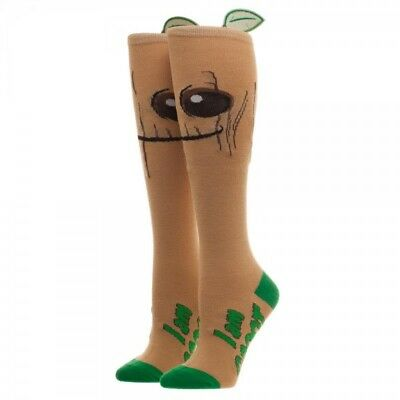 Marvel Comics Groot Avengers Knee High Socks 3D Leaf Costume Cosplay Logo Retro