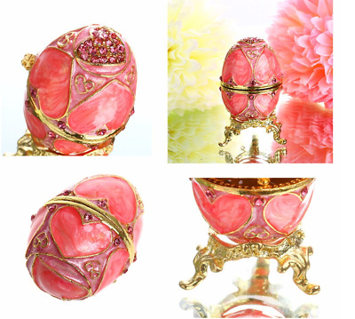 Pink H&D Faberge Egg Shaped Trinket Box Hinged Jewelry Ring Holder Collectible