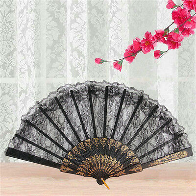 Black Spanish Style Dance Party Wedding Lace Silk Folding Hand Held Flower Fan<Z