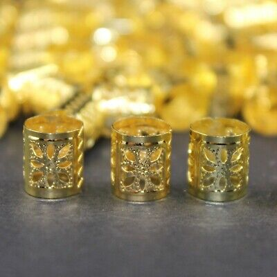 30x Small Dreadlock Beads, Cuffs, Clips for Braids, Hair Extensions, Gold Colour